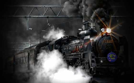 del, tren, vapor