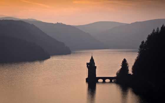 озеро, vyrnwy, красивых, спа, hotel, настроения, картинок, природа, горстка, лес, горы,