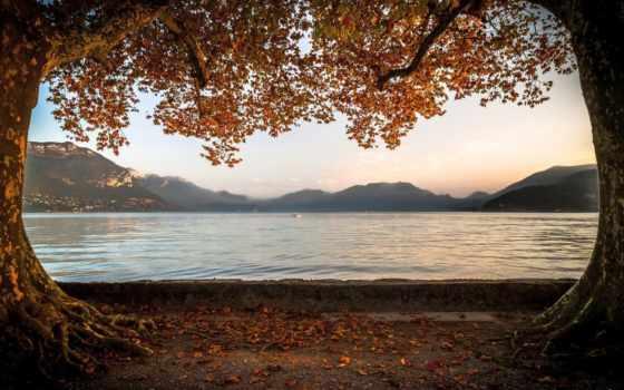 красивые, осень, full, озеро, широкоформатные, разрешением, природа, сайте,