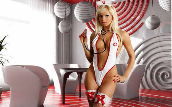 медсестра, чулки, девушки