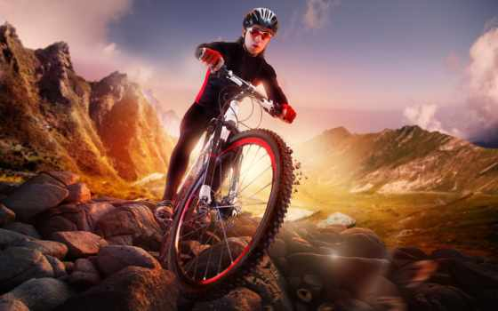 гора, велосипед, велосипедист