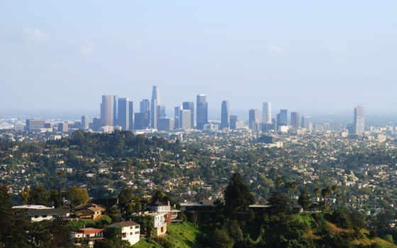 los, анджелеса, город, панорама, анджелес, небоскребы, небо, дома,