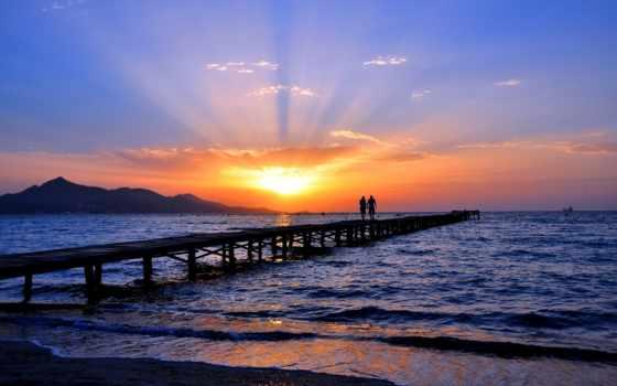 море, солнца, sun, закат, берег, rising, небо, горизонт, влюбленная, pair,