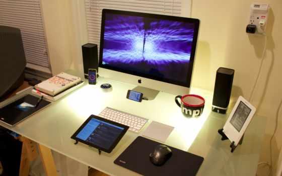 монитор, место, рабочее, колонки, apple, tech, компьютер, iphonr, mouse,