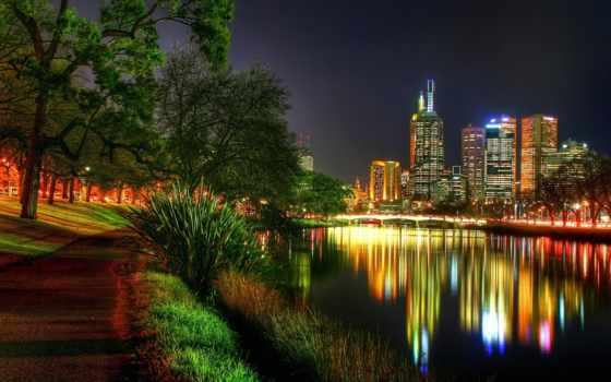 город, ночной, ночь