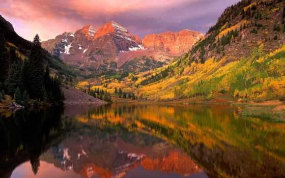 природа, бардовый, склянки, красивые, art, landscape, фотографий, осень, природы, aspen, mountains,