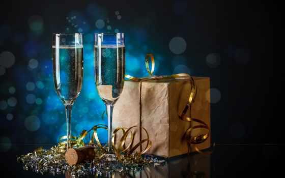 год, new, бокалы, шампанское, сток, шампанским, дек, праздник, мишура,