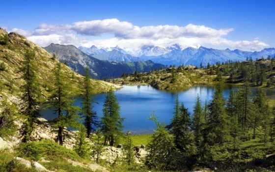 landscape, гора, озеро, горы, небо, природа, вышивки, озера, пейзажи -,
