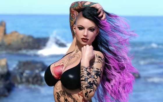 девушка, punk, взгляд, красавица, пляж, волосы, пирсинг, girls,