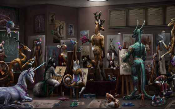 звери, волшебные, лань, натурщик, drawing, единорог, рисунки,