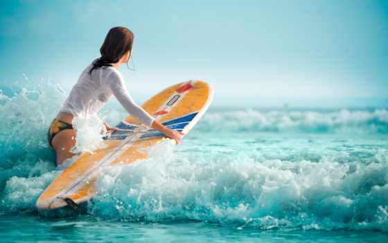 девушка,  волны, water, женщины, women, океан, surfing,