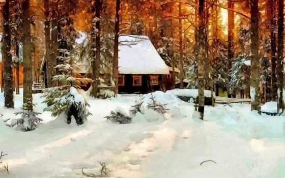 winter, снег, живопись