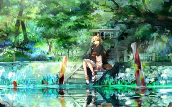 anime, девушка, природа Фон № 91787 разрешение 1920x1200