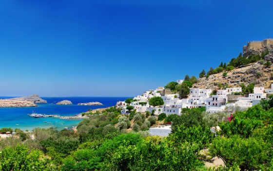 greece, дома, побережье
