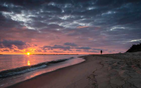 утро, рассвет, море