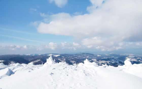 горы, снег, winter, природа, сугробы, небо, облока, вершины,