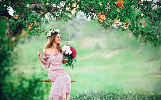 девушка, качели, венок, cvety, петрозаводск, summer, красивые, июл, говорит, цветочными, венками,