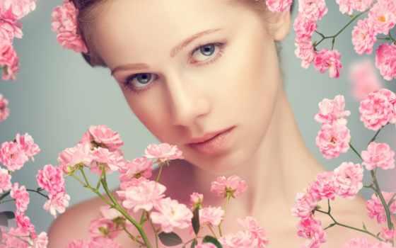 женщина, stock, красавица, спа, flowers, free, молодой, photos, глаза, розовый,