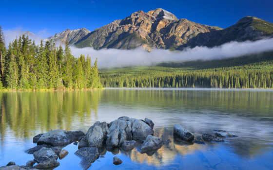 гора, озеро, пирамида