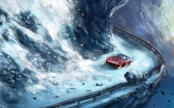часть, лавина, дорога, красная, машина, снег, desktop, сборник, computer, подборка,