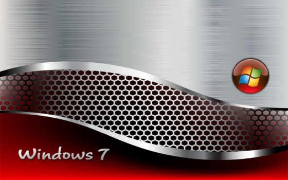 windows 7, background, metallic, red, текстуры, metal