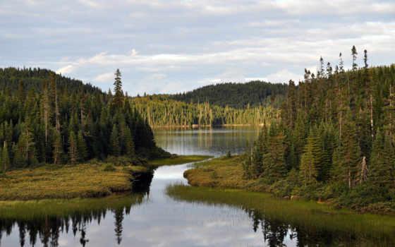 канада, лес, озеро, cliff, природа, горы, марта, хвойные,