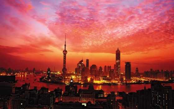 red, закат, городом, со, china, азия, shanghai, закаты,