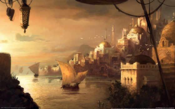 город, art, драккар, мечети, anno, landscape, порт,