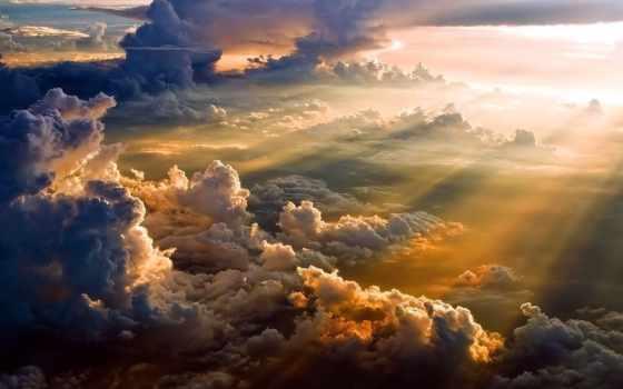 clouds, закат, первую, природа,