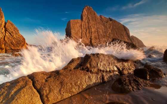 море, скалы, берег, waves, камни, пенка, browse, природа, моря, небо, поле,