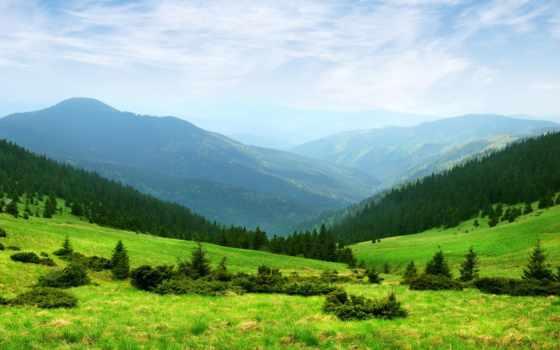 горы, природа, trees, холмы, зелёный, трава, небо, зелёная, изображение,
