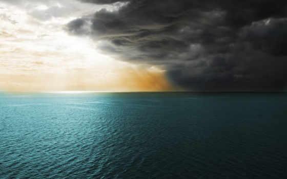 море, буря, лет, ago, тучи, impending,