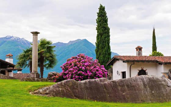 house, landscape, trees, колонна, park, bush, cypress, пальмы, горы, рододендрон, камни,