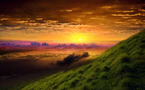 закат, горизонт, трава, небо, лес, oblaka, clouds, первую, восход, дорога, distance,