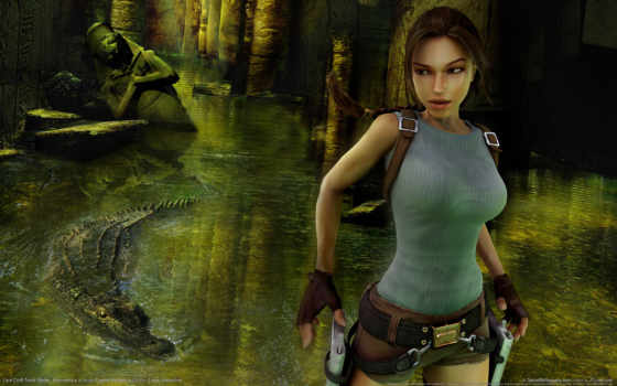 tomb, raider, anniversary, game, croft, lara, ruins, fire, girl, guns, crocodile,