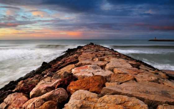 небо, камни, море, картинка,