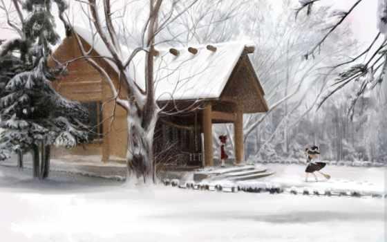зима, дом, шляпа