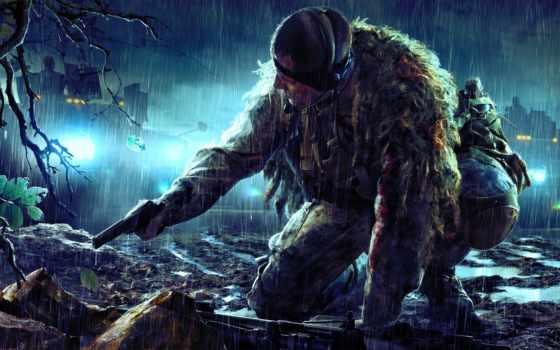 снайпер, винтовка, ghost, воин, засада, камуфляж, оружие,