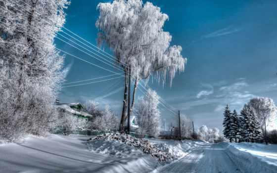 winter, russian, природа, пейзажи -, снег, trees, россии, картинка, дорога,
