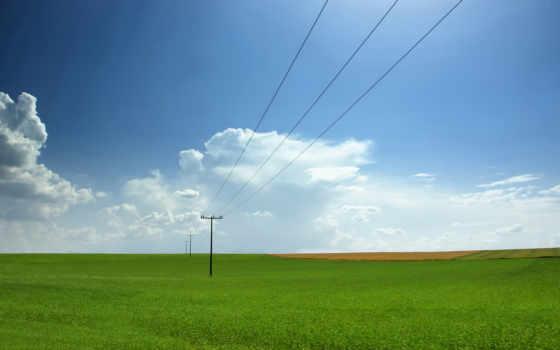 поле, небо, landscape, провода, столбы, всех, тег, есть, которых, дек,