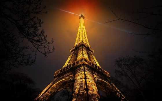 , башня, огни, париж, эйфелева,