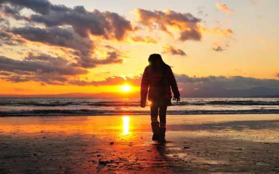 закат, мужчина, свет, прогулка, берег, море, loneliness,