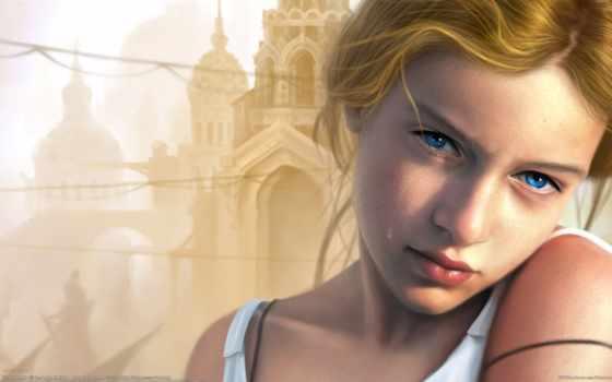 девушка, свет, голубые, blonde, слеза, печаль,