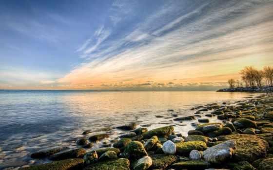 море, побережье, природа, камни, закат, картинка, sun, берег, landscape, небо,