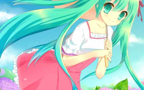 волосы, зелёный, anime, платье, long, hatsune, miku, eyes, vocaloid, flowers, характер,