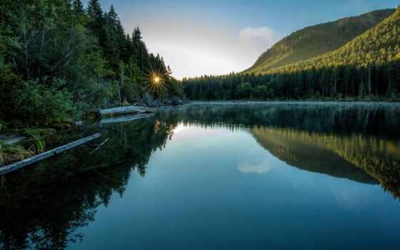 канада, fore, vancouver, гора, остров, озеро, лес, summer, утро, park, national