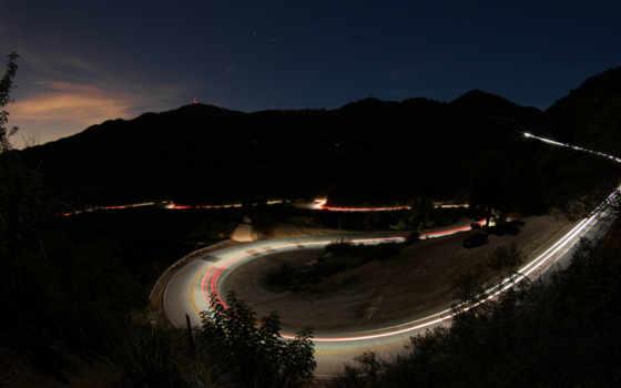 дорога, ночная, природа