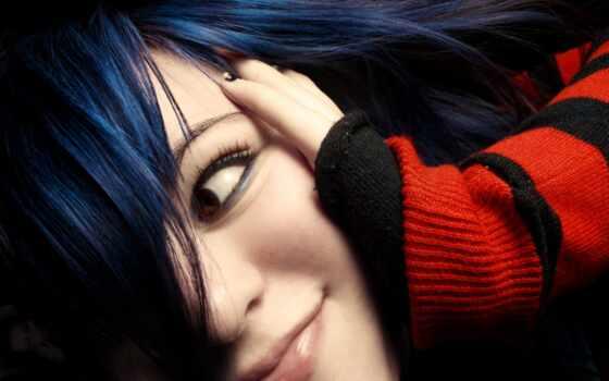девушка, волосами, синими