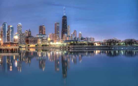 пейзажи -, отражение, город, chicago, панорамы, городские, супер,
