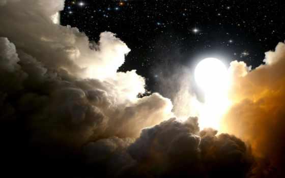 небо, oblaka, луна